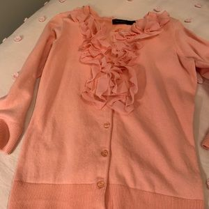 Peach ruffle cardigan